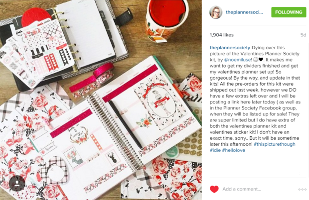 Valentine's Day Planner Kit Instagram