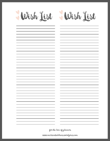 Effortless image regarding wish list printable