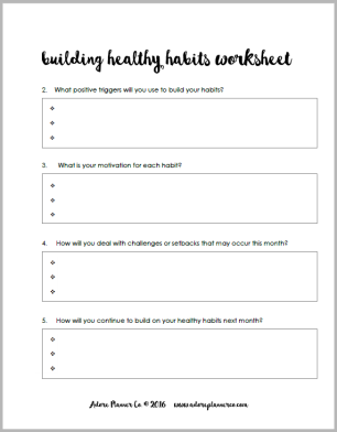 Free Habit Building Worksheet – For the Love of Planners